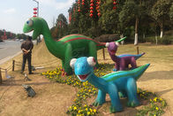 Amusement Park Fiberglass Dinosaur Mother And Daughter Normal Steel Frame Structure